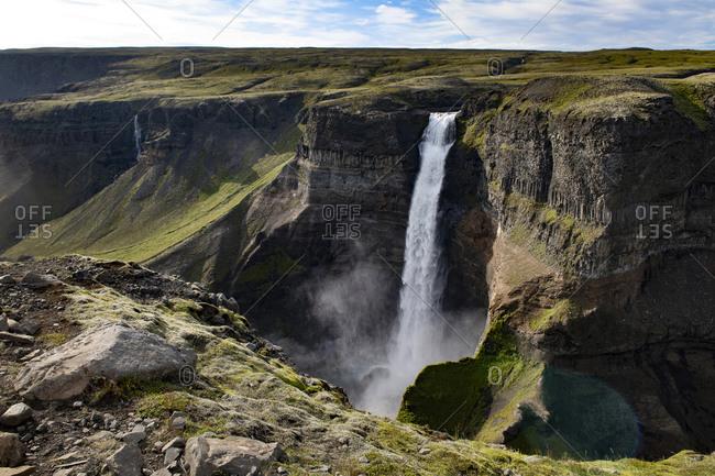 Beautiful view of Haifoss waterfall at Iceland