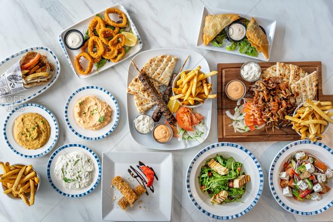 Mediterranean food colorful large flatlay