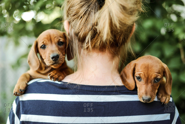 woman with puppies standing outdoors