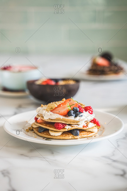 mixed fruit pancakes for breakfast