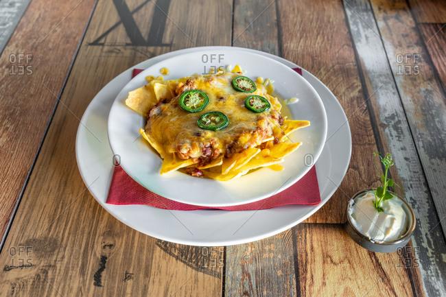 spicy nachos with beef chilli
