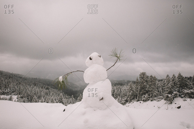Snowman Dancing on a Scenic Overlook