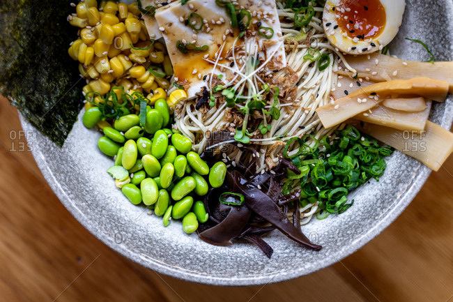 close up bowel of raman vegetables