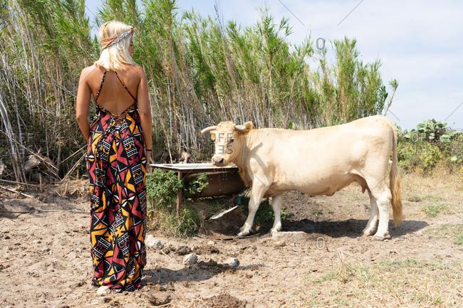 hippie woman in a gorgeous dress