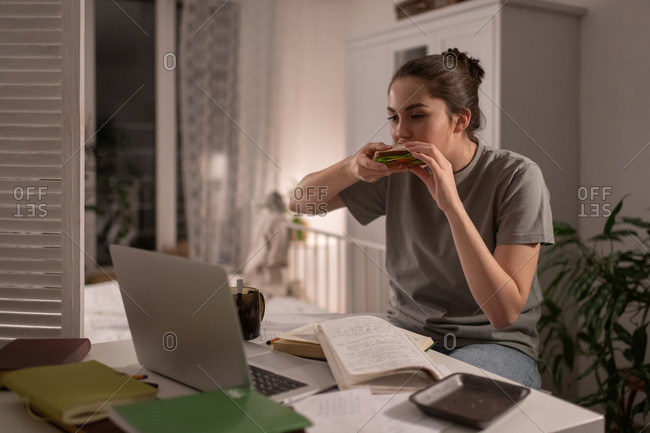 Student watching online lesson and eating sandwich