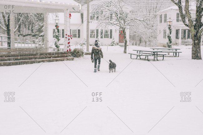 boy and dog in snowy New England