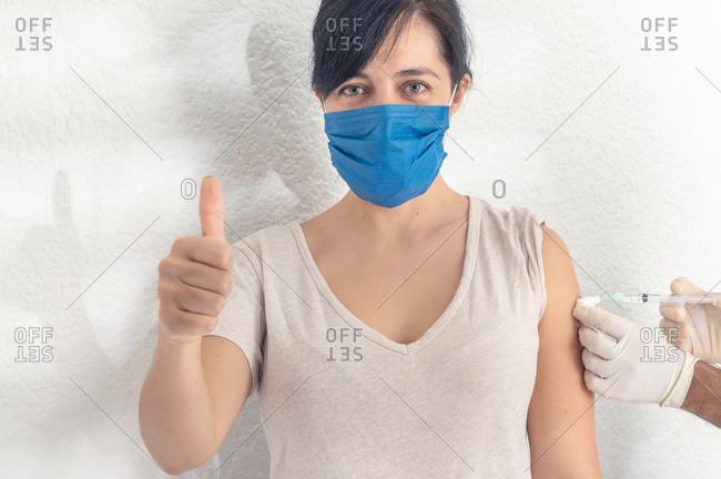 Coronavirus vaccine, woman get vaccine during coronavirus pandemic.
