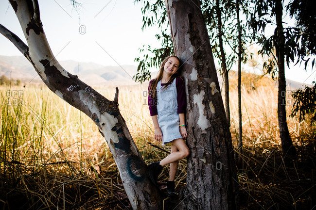 Young Girl Posing in Tree at Park in Chula Vista