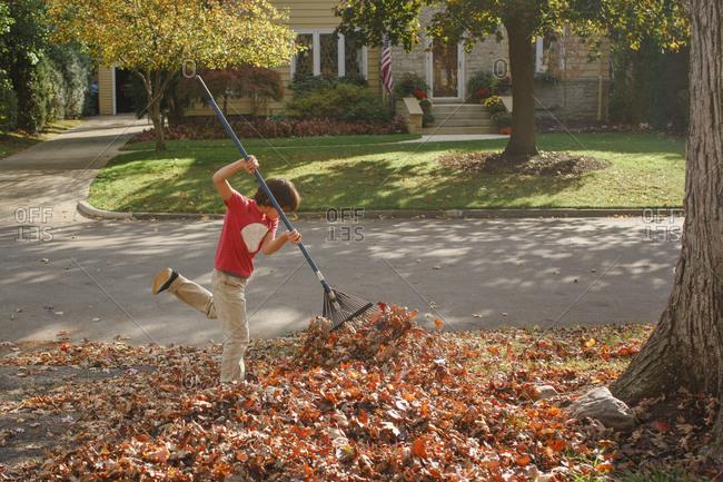 a boy enthusiastically rakes leaves on a warm autumn day outside
