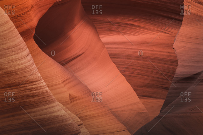 Abstract details of orange slot canyon wall, Antelope Canyon X, Page, Arizona, USA