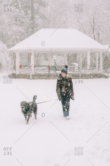 boy with his dog on town common on snow day in New England