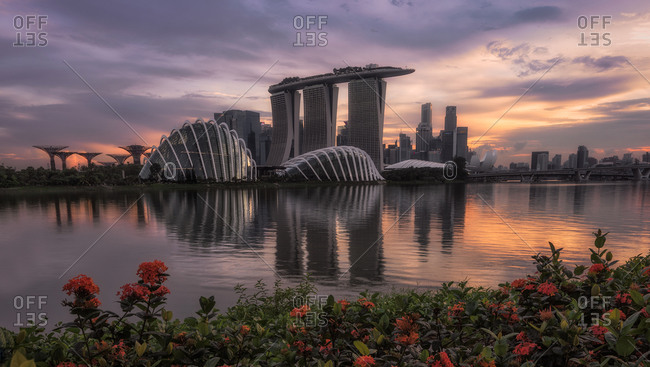 Singapore, Singapore - May 31, 2019: twin domes over Marina bay and Singapore cityscape