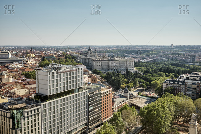 Madrid, Community of Madrid, Spain - August 26, 2020: Cityscape with modern architecture and buildings