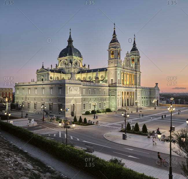 Madrid, Community of Madrid, Spain - August 27, 2020: Illuminated square near palace in evening