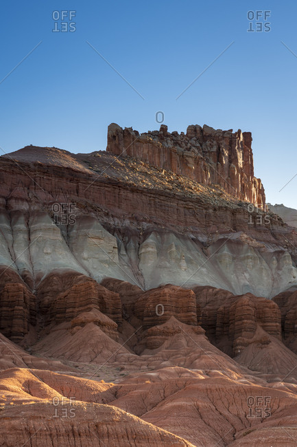 Low angle view of The Castle rock formation at sunrise, Capitol Reef National Park, Utah, USA