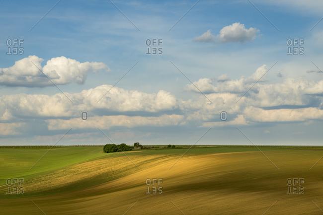 Scenic view of rolling field against sky near Kyjov, Hodonin District, South Moravian Region, Moravia, Czech Republic