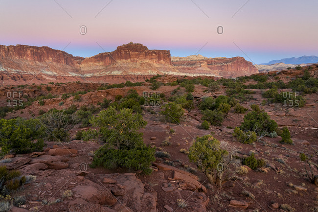 Scenic view of Sunset Point Overlook after sunset, Capitol Reef National Park, Utah, Western United States, USA