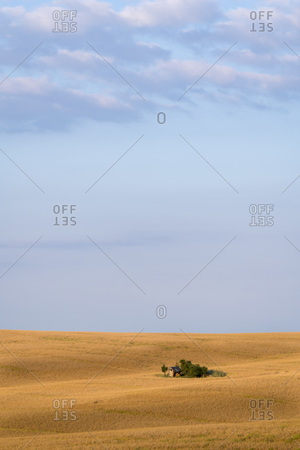 Scenic view of barn on field against sky near Kyjov, Hodonin District, South Moravian Region, Moravia, Czech Republic