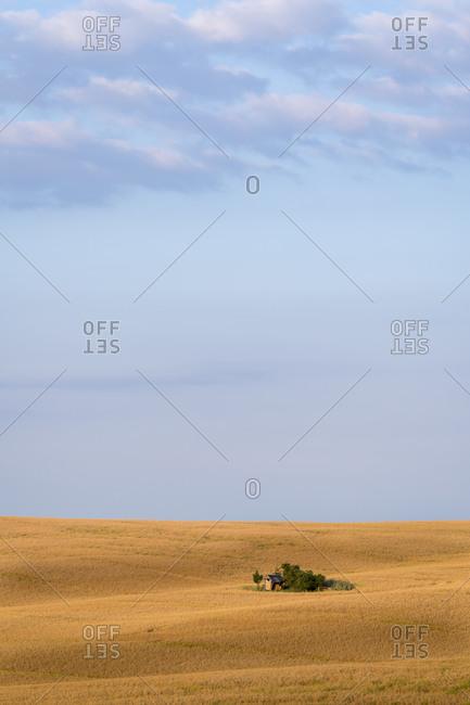 Scenic view of barn on field against sky near Kyjov, Hodonin District, South Moravian Region, Moravia, Czech Republic