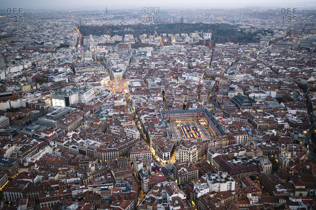 Madrid, Community of Madrid, Spain - November 25, 2020: Image of the city of Madrid, Spain, on a cloudy winter day