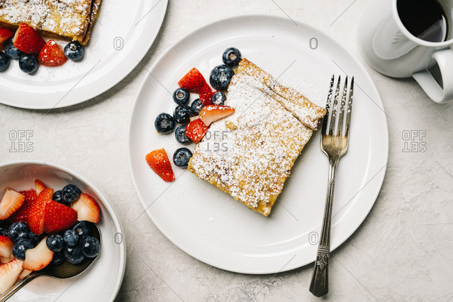 Flat lay French Toast Casserole with berries