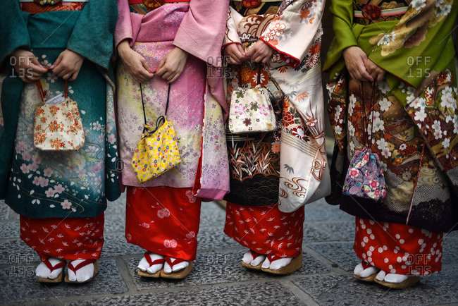 Group of women dressed as Japanese Maiko