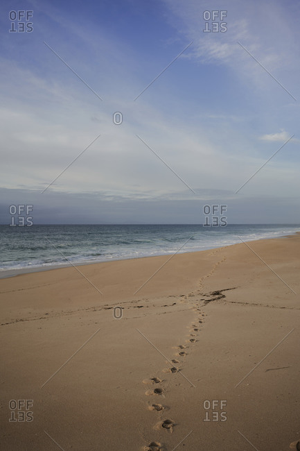 Empty beach along Portuguese coastline