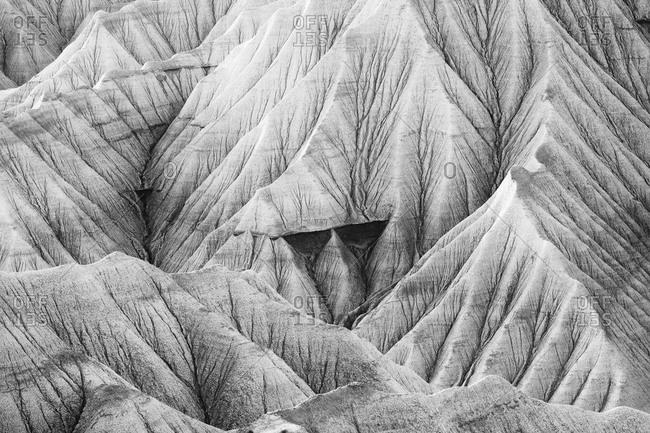 The desert landscape of the Bardenas Reales in Navarra, Spain