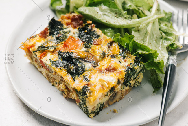 Chorizo egg casserole with side salad