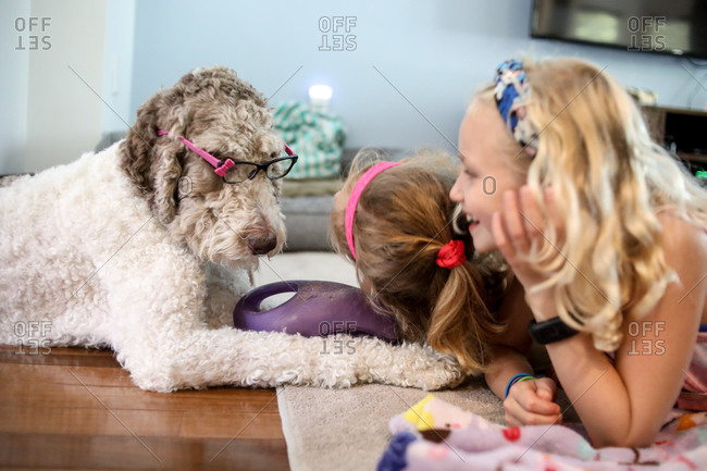 two girls playing with large brown and white dog on floor at home