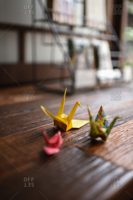 Traditional Japanese origami figures on table