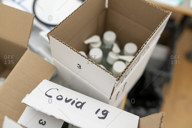 box containing hand sanitizer, used in the fight against covid-19