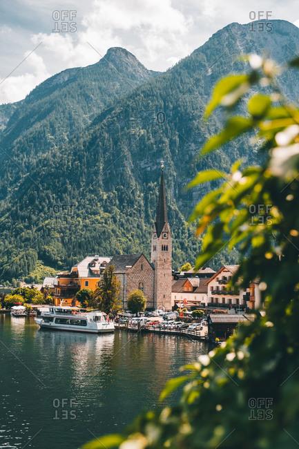 Hallstatt, Upper Austria, Austria - July 13, 2020: Hallstatt, Austria in Summer time