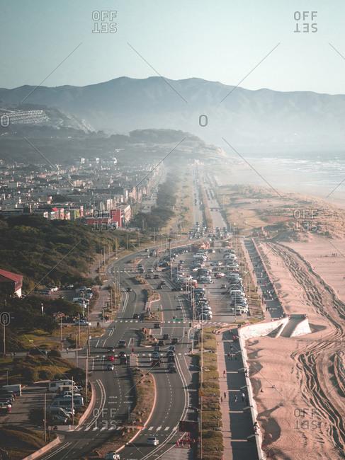Ocean beach crowds in the summer