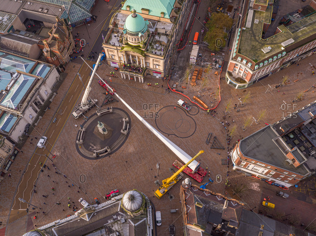 January 8, 2017: Aerial view of two cranes operating in Queen Victoria square in Hull, United Kingdom.