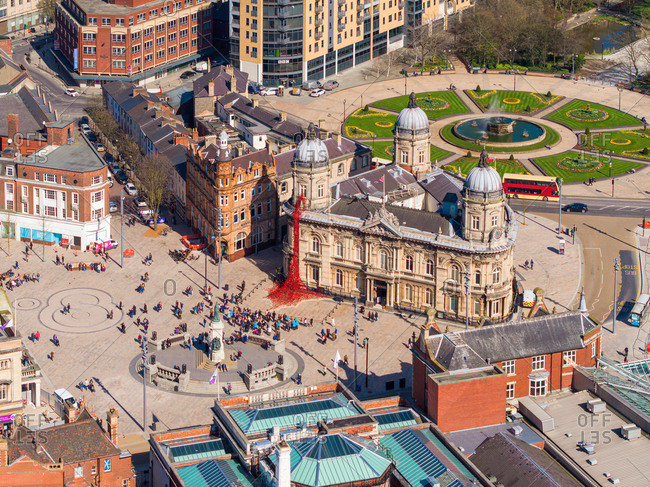 March 24, 2017: Aerial view of people standing in front of the city hall in Hull, United Kingdom.
