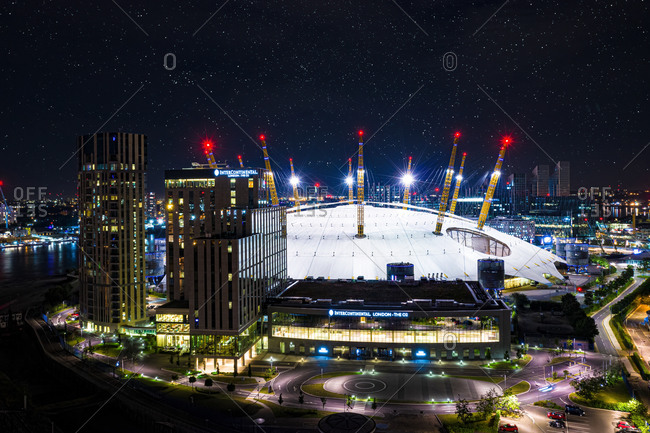 July 4, 2019: London, United Kingdom29 December 2020: Aerial view of the O2 arena in London city center at night, England.