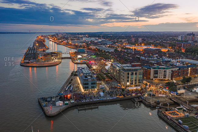 Aerial view of Hull city center and the harbor along the Humber river at sunset, United Kingdom.