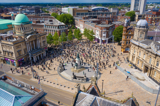 June 4, 2020: Aerial view of a large group of people standing in Queen Victoria square in Hull city center, United Kingdom.