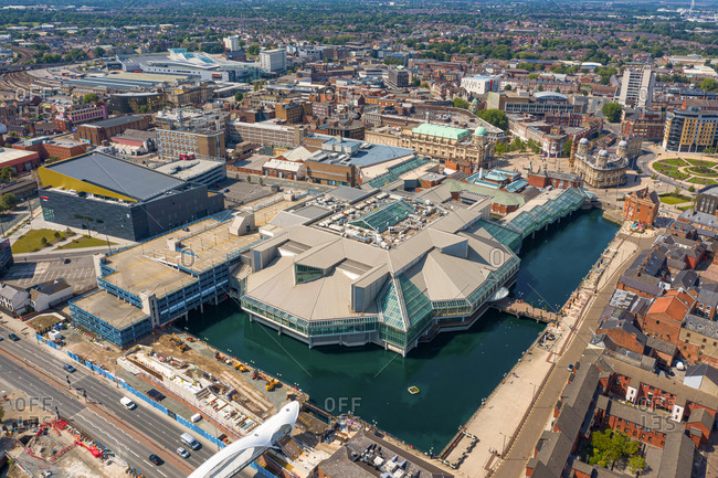 June 14, 2020: Aerial view of the Princes Quay shopping mall in the city center of Mull, United Kingdom.