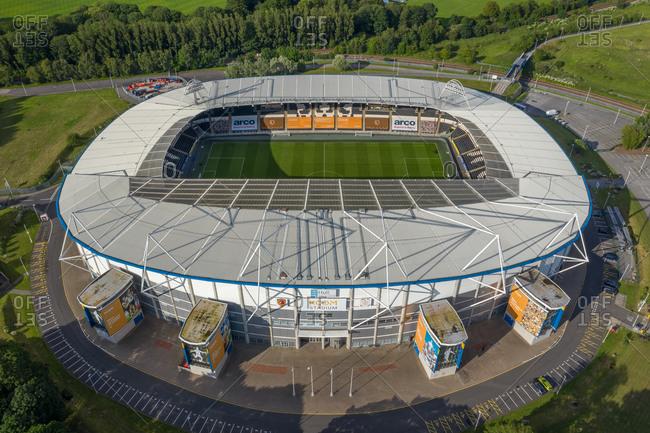June 20, 2020: Hull, England20 June 2020: Aerial view of the KCOM football stadium in Hull countryside near Kingston upon Hull, United Kingdom