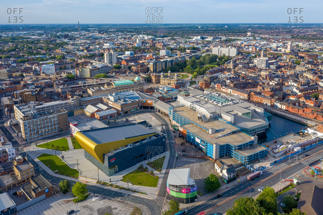 June 22, 2020: Aerial view of Hull city center along the Humber river, United Kingdom.