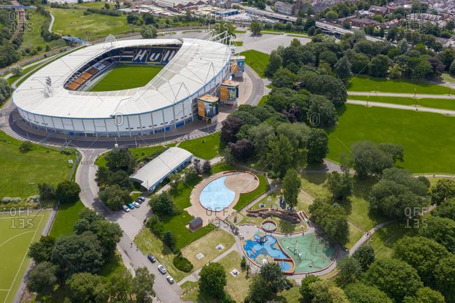 July 12, 2020: Hull, England20 June 2020: Aerial view of the KCOM football stadium in Hull countryside near Kingston upon Hull, United Kingdom