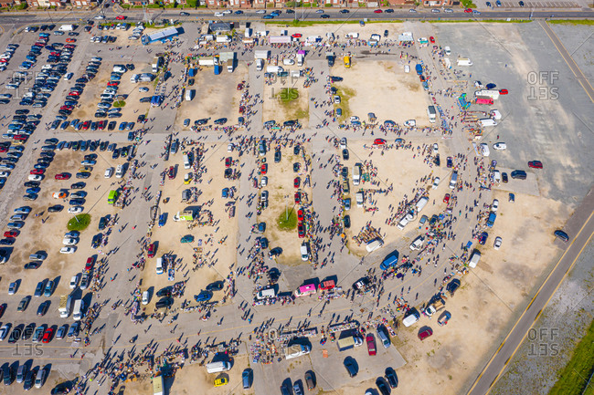 July 19, 2020: Aerial view of a busy flee market near the city of Hull, United Kingdom.