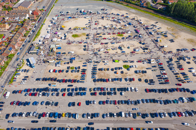 Aerial view of a busy flee market near the city of Hull, United Kingdom.