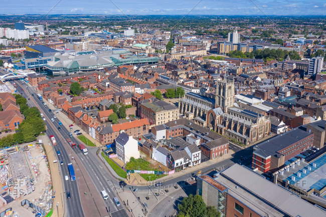 Aerial view of the city of Hull with the Hull Minster parish church in the background, United Kingdom.