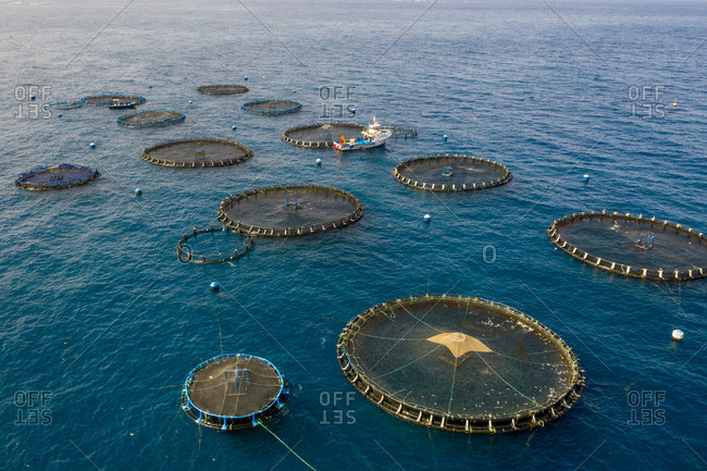 July 20, 2020: Aerial view of fish farm in Tenerife, Canary islands, Spain.