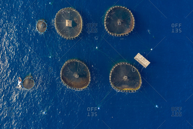 Aerial view of fish farm in Tenerife, Canary islands, Spain.