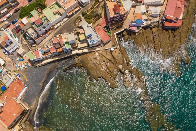 Aerial view of rocky beach in La Caleta,  Tenerife, Canary islands, Spain.