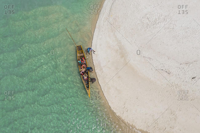 Aerial view of traditional boat in Bureh beach near Western Area National park, Sierra Leone.